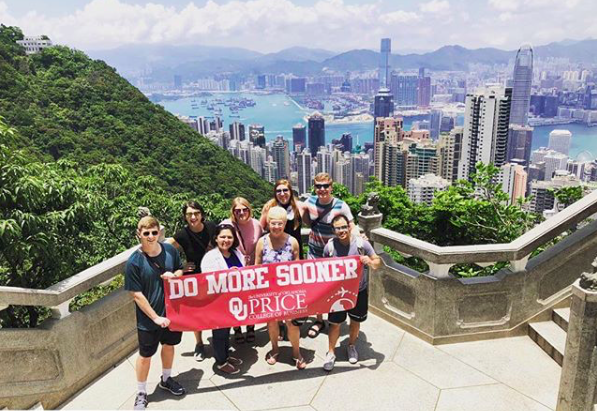 """""""Hong Kong Day 2: Visited the top of Victoria Peak to overlook the scenic view of Hong Kong. Afterward, we traveled to Stanley Market for a nice lunch and then took a boat ride to an old fishing village named Aberdeen."""" Photo and caption by Michael Jay Angeles, graduate student with OU Price College abroad."""