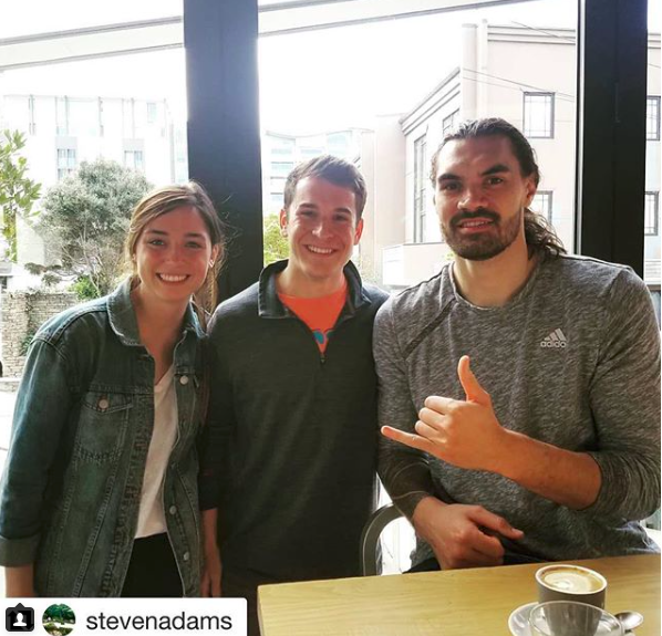 """Student Rachel Edwards ran into Oklahoma City Thunder player Steven Adams while studying abroad in Adams's home country of New Zealand. Photo and caption from Adams's Instagram: """"Met some Oklahoma natives in NZ. Welcome fam!"""""""