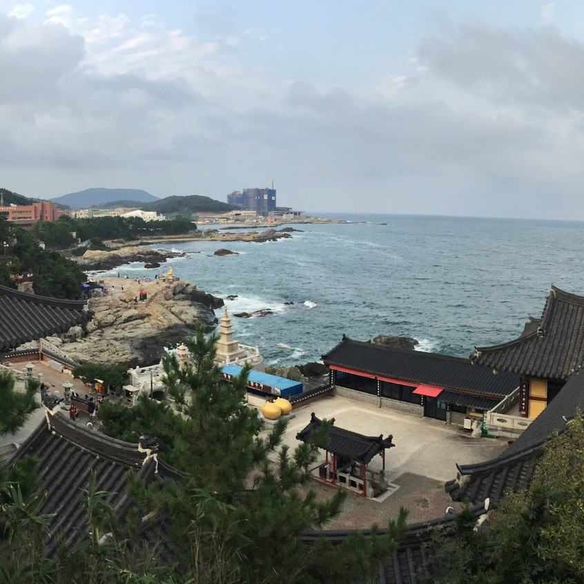 This is the view from the upper level of an uncommon temple complex located on the coast of the peninsula.  Most temples in the country are located on mountains inland, for various traditional cultural reasons.