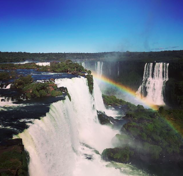 """""""OU College of Arts and Sciences is studying abroad in Brazil with Dr. Marshall and Dr. Bingham! 'May in the Marvelous City' started out their study abroad adventure at Iguaçu Falls!"""" Photo by student Brittany Donnelly."""