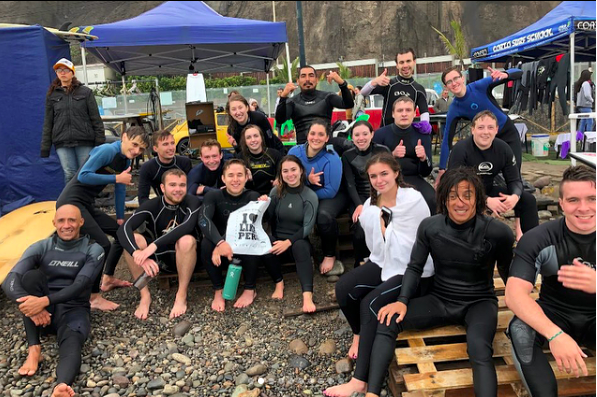 """""""We've loved our time in Peru! With everyone officially back in the US, we are all so happy for the experience of a lifetime."""" Pictured: students from the CIS program Journey to Latin America: Peru after surfing on the Lima coast."""