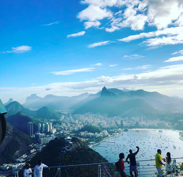 """Photo from the OU College of Arts and Sciences """"May in the Marvelous City"""" program's visit to Sugar Loaf Mountain in Rio."""