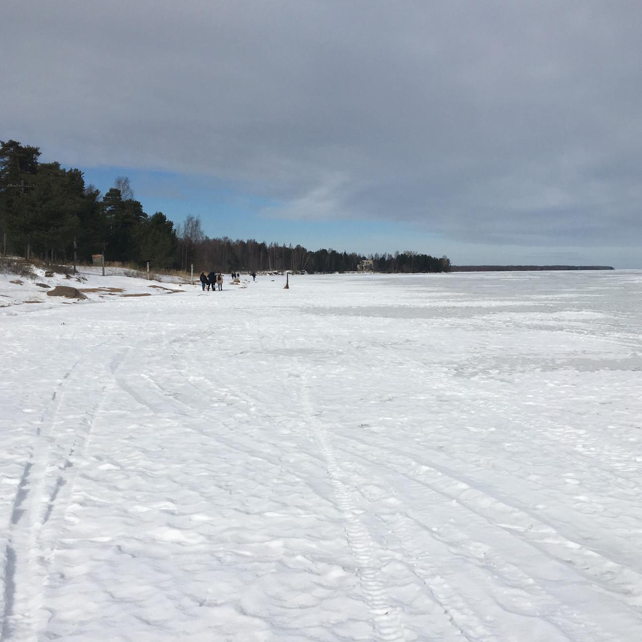 Frozen Lake Ladoga, bordering Finland and Russia