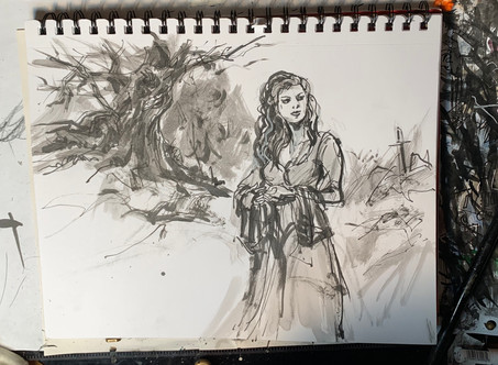 Vikings Demo with pen & Ink and Charcoal