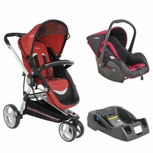 Travel System Compass II com bebê conforto Casulo click Vermelho - Kiddo