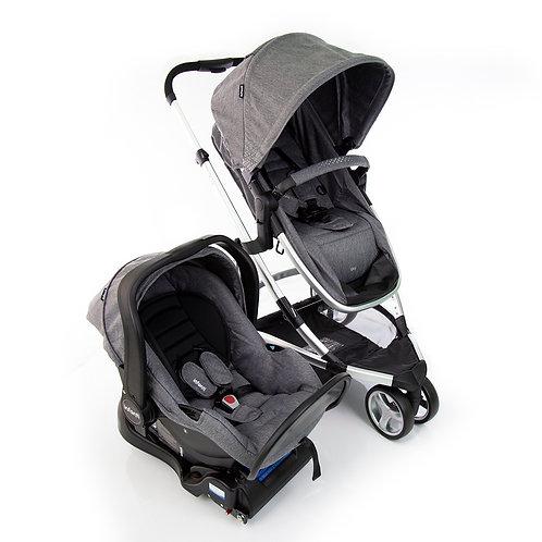 Travel System Sky Trio com bebê conforto Isofix Prata - Infanti