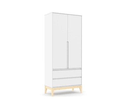 Roupeiro Nature Clean 2 portas branco/natural - Matic Móveis
