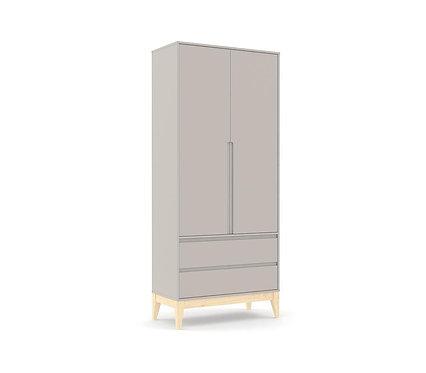 Roupeiro Nature Clean 2 portas cinza/natural - Matic Móveis