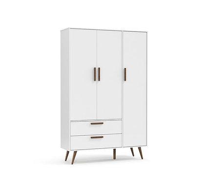 Roupeiro Retrô 3 portas branco - Matic Móveis