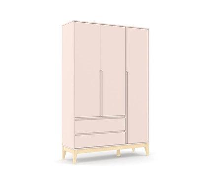 Roupeiro Nature Clean 3 portas rose/natural - Matic Móveis