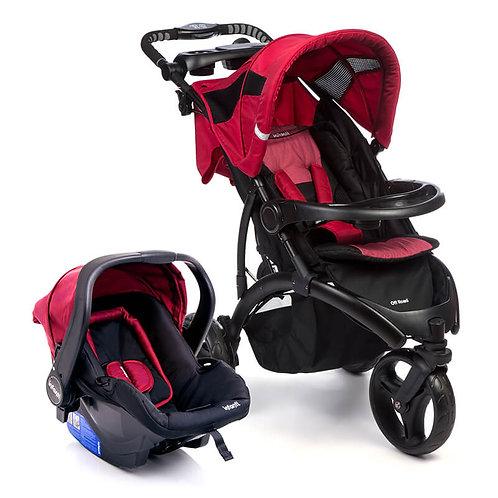 Travel System Off Road Duo com bebê conforto Isofix Vinho - Infanti