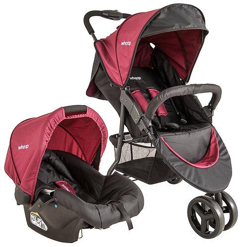 Travel System Trio com bebê conforto Cozycot Vinho - Kiddo Whoop