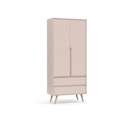 Roupeiro Retrô Clean 2 portas rose/natural - Matic Móveis