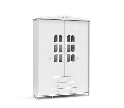 Roupeiro Provence 4 portas branco - Matic Móveis