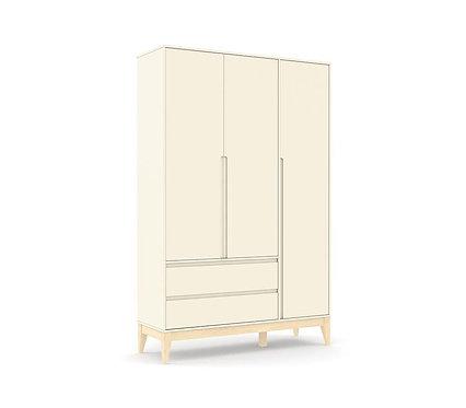 Roupeiro Nature Clean 3 portas offwhite/natural - Matic Móveis