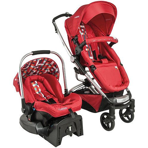 Travel System Eclipse Vermelho Xadrez com bebê conforto caracol - Kiddo