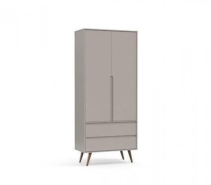 Roupeiro Retrô Clean 2 portas cinza - Matic Móveis