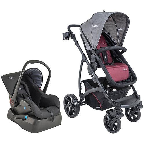Travel System Explore com bebê conforto Casulo click Vinho - Kiddo