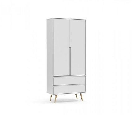 Roupeiro Retrô Clean 2 portas branco/natural - Matic Móveis