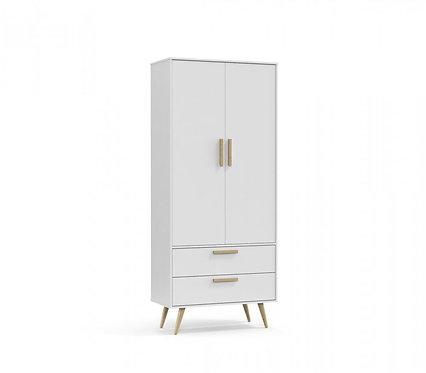 Roupeiro Retrô 2 portas branco/natural - Matic Móveis