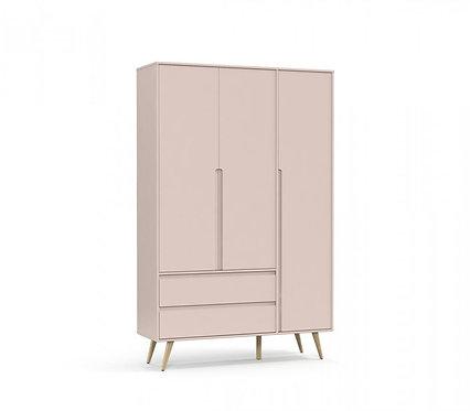 Roupeiro Retrô Clean 3 portas rose/natural - Matic Móveis