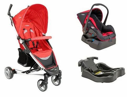 Travel System Helios com bebê conforto Casulo click Vermelho - Kiddo