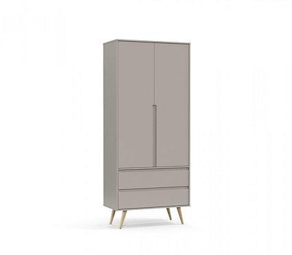 Roupeiro Retrô Clean 2 portas cinza/natural- Matic Móveis