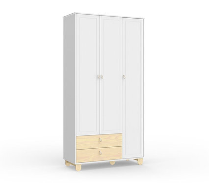 Roupeiro Rope 3 portas branco/natural- Matic Móveis