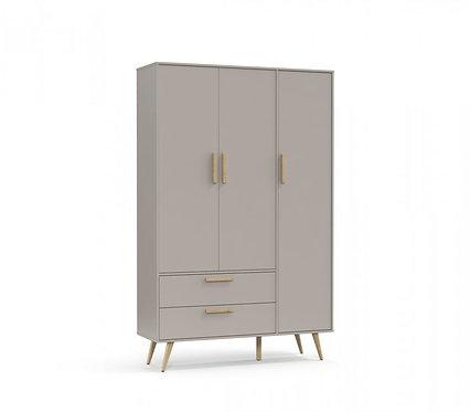 Roupeiro Retrô 3 portas cinza/natural - Matic Móveis