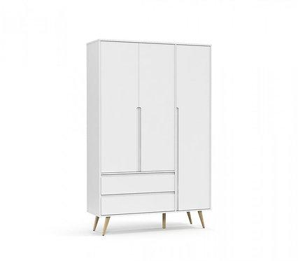 Roupeiro Retrô Clean 3 portas branco/natural - Matic Móveis