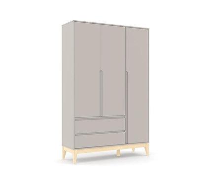 Roupeiro Nature Clean 3 portas cinza/natural - Matic Móveis
