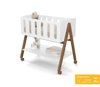 Mini berço Liv  branco/ecowood - Matic Móveis