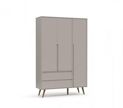 Roupeiro Retrô Clean 3 portas cinza - Matic Móveis