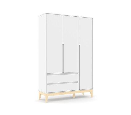 Roupeiro Nature Clean 3 portas branco/natural - Matic Móveis