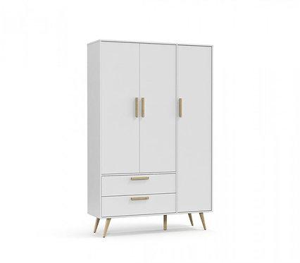Roupeiro Retrô 3 portas branco/natural - Matic Móveis