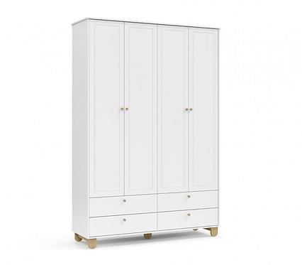 Roupeiro Zupy 4 portas branco/natural - Matic Móveis