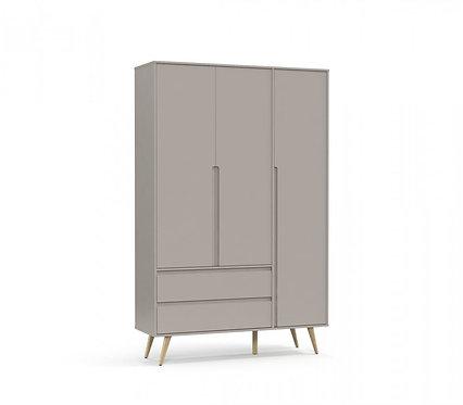 Roupeiro Retrô Clean 3 portas cinza/natural- Matic Móveis