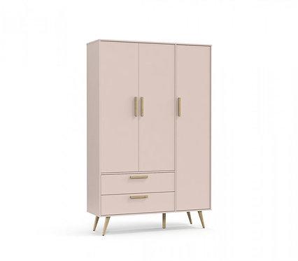 Roupeiro Retrô 3 portas rose/natural - Matic Móveis