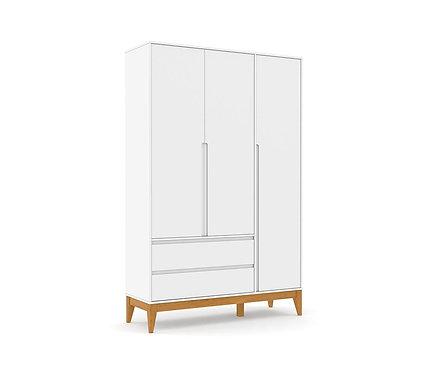 Roupeiro Nature Clean 3 portas branco - Matic Móveis