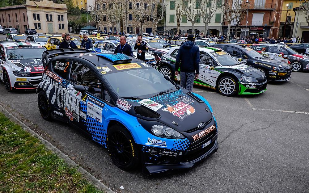 La Ford Fiesta WRC di Porro - Cargnelutti in riordino a Ciano d'Enza