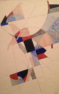 BRAZ DIAS - Nanquim, e guache sobre papel. Ano 1958. Tamanho 39x25cm