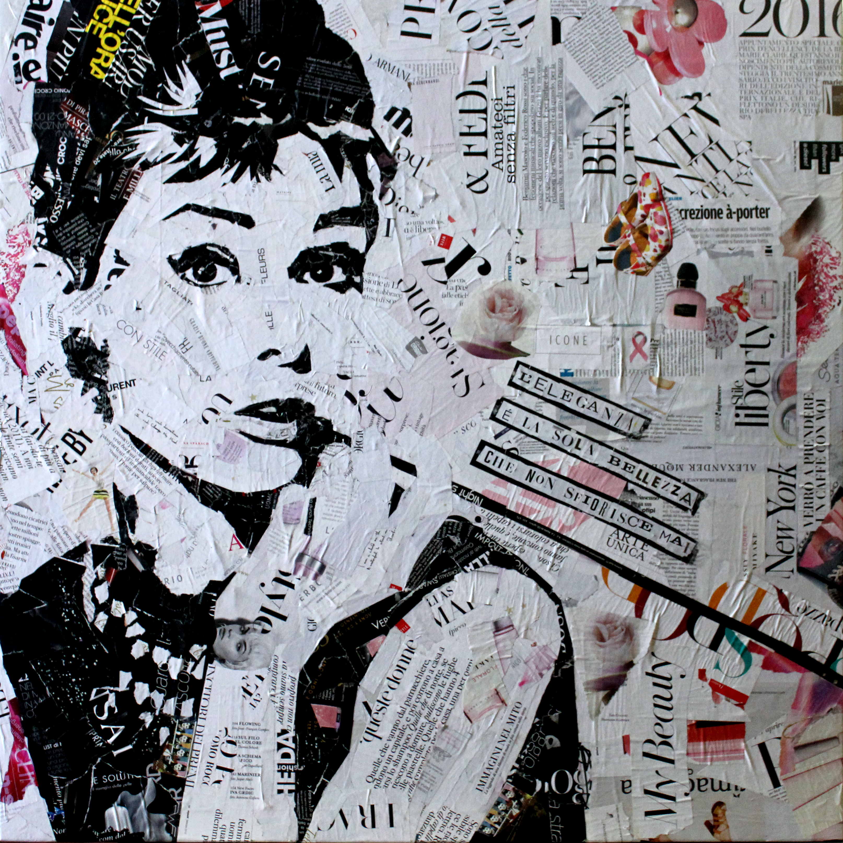Audrey Hepburn - Collage 90x90cm