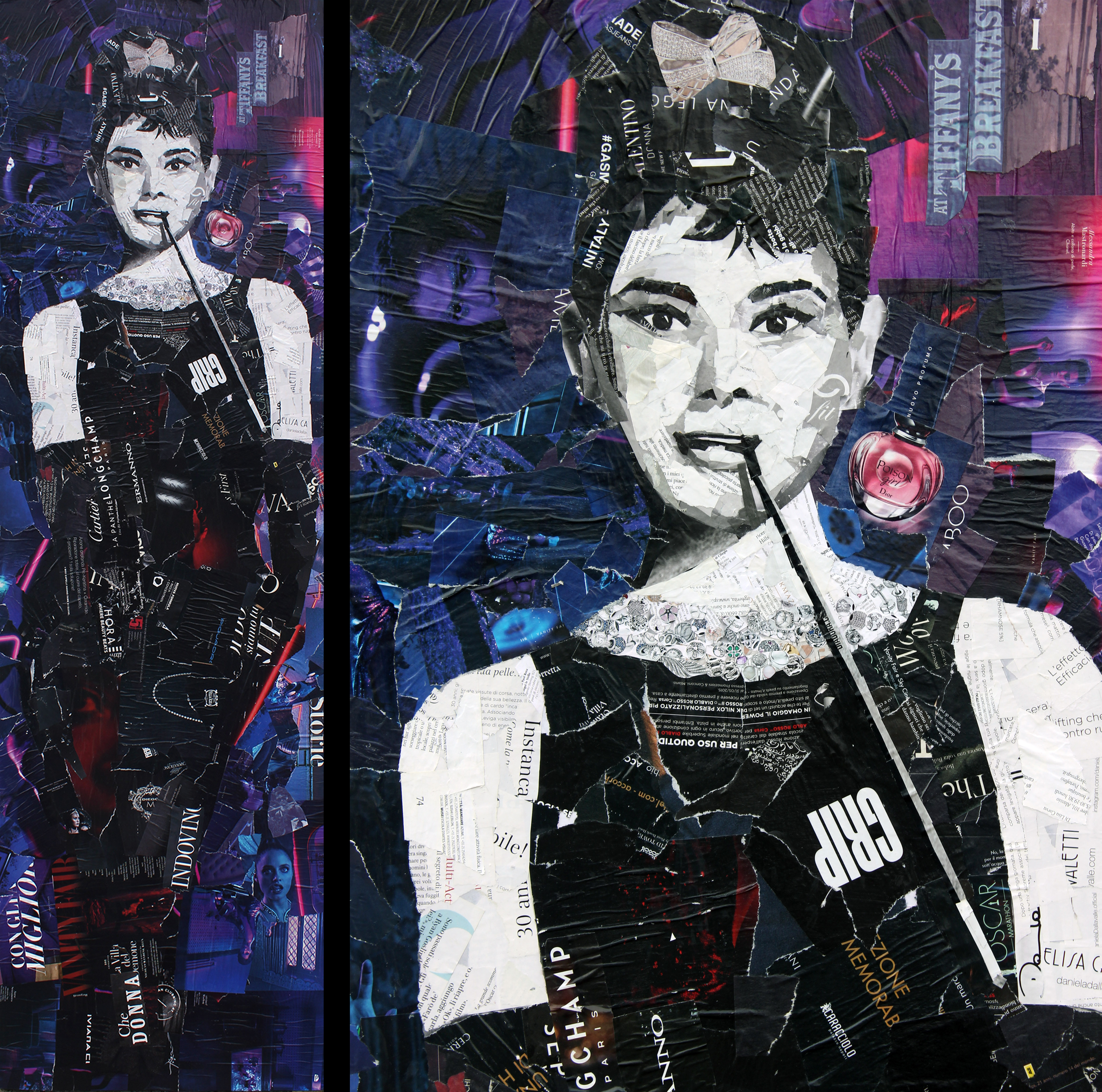 Audrey Hepburn - Collage Tela 49x165cm