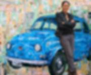 FIAT 500 vintage Paper Collage, Puglia Salento Lecce