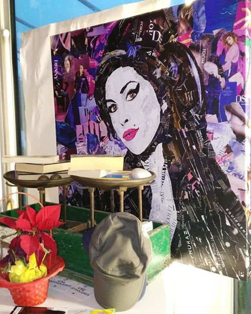 Amy Winehouse Collage su tela 90x90c