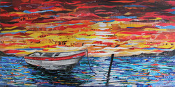 Barca al tramonto Magazine Collage