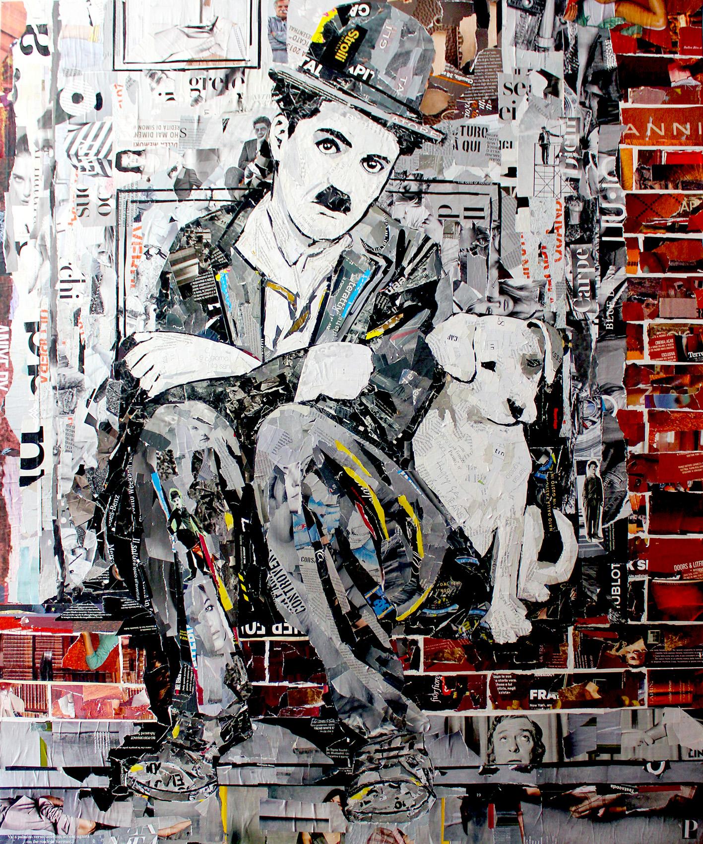 Charlie Chaplin e il cane 100x120 cm