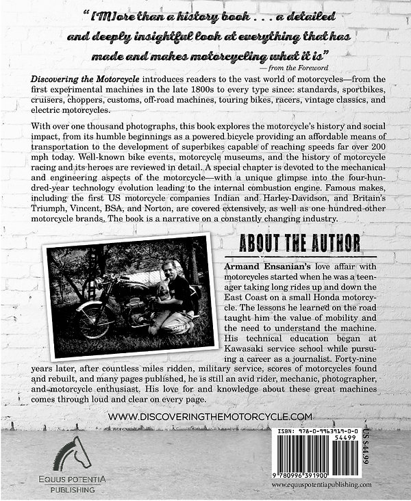 Discovering the Motorcycle Bio & Back Cover