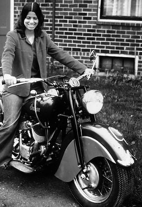 Woman on 1947 Indian Motorcycle