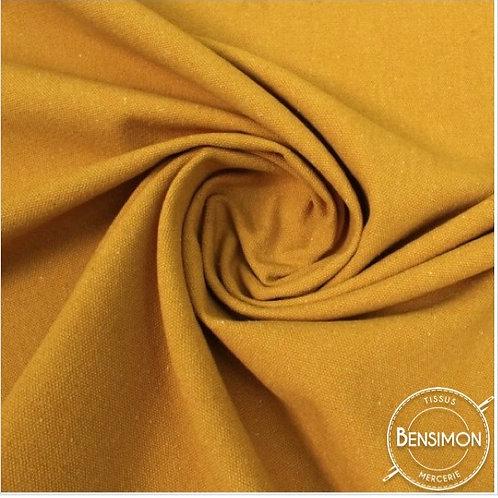 Tissu natté toile lourde - Moutarde X 50cm